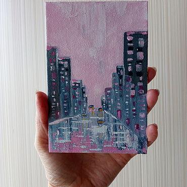 """Картины и панно ручной работы. Ярмарка Мастеров - ручная работа """"По розовому асфальту """" миниатюра. Handmade."""