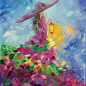 Картины и панно handmade. Livemaster - original item Oil painting on canvas with stretcher 40/50. Summer night fairy!. Handmade.
