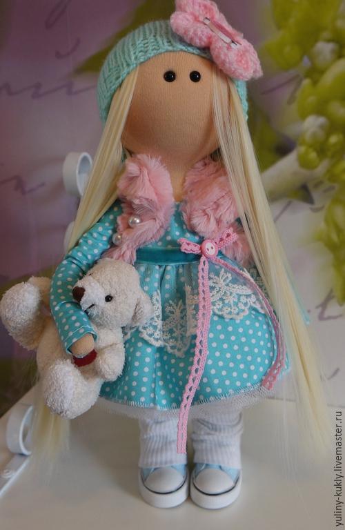 Коллекционные куклы ручной работы. Ярмарка Мастеров - ручная работа. Купить Текстильная куколка- малышка Дженни. Handmade. Бирюзовый