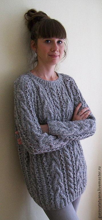Кофты и свитера ручной работы. Ярмарка Мастеров - ручная работа. Купить Джемпер вязаный в серых тонах меланжевый со жгутами из пряжи Италии. Handmade.