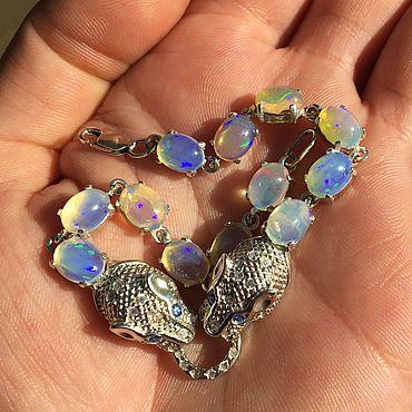 """Украшения ручной работы. Ярмарка Мастеров - ручная работа Браслеты: """" blue panther"""" браслет с опалом Эфиопии. Handmade."""