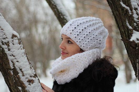 """Шапки ручной работы. Ярмарка Мастеров - ручная работа. Купить Белый ажурный комплект из шапки и снуда """"Luxury"""". Handmade. Белый"""