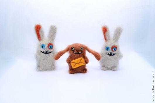 Игрушки животные, ручной работы. Ярмарка Мастеров - ручная работа. Купить Зайцы Мегабайт и СМС. Handmade. Разноцветный, шерсть