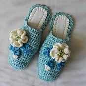 """Обувь ручной работы. Ярмарка Мастеров - ручная работа """"Маки Тиффани"""" тапочки 37-38 размер (подошва валяная). Handmade."""
