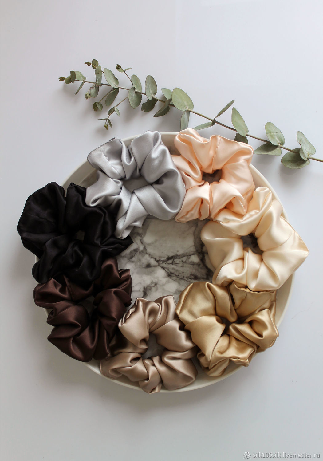 100% silk hair elastic Band large and lush made of satin silk, Scrunchy, St. Petersburg,  Фото №1