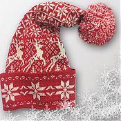 Подарки к праздникам ручной работы. Ярмарка Мастеров - ручная работа Колпак-шапка с оленями Новогодняя красная. Handmade.
