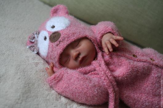 """Для новорожденных, ручной работы. Ярмарка Мастеров - ручная работа. Купить Комплект """"Мишка - праздничное настроение"""".. Handmade. Розовый, для девочки"""