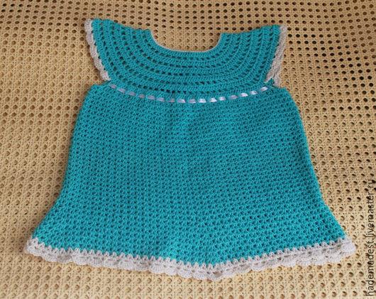 Одежда для девочек, ручной работы. Ярмарка Мастеров - ручная работа. Купить платье для девочки. Handmade. Бирюзовый, платье вязаное