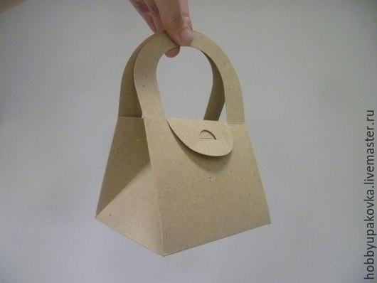 Упаковка ручной работы. Ярмарка Мастеров - ручная работа. Купить Коробка сумочка-крафт 13х11х10,5 см. Handmade. Крафт
