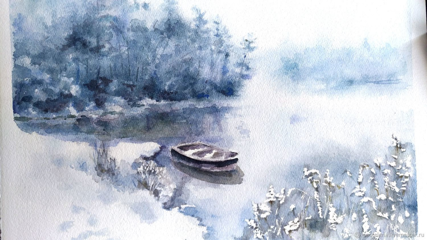 The first snow Painting with watercolors (blue, white), Pictures, ,  Фото №1