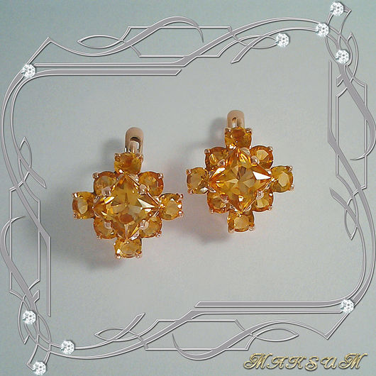 Earrings 'Chamomile (square)' gold 585, natural citrines, Earrings, St. Petersburg,  Фото №1