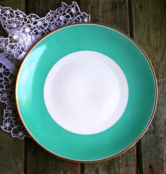 Винтажная посуда. Ярмарка Мастеров - ручная работа. Купить Тарелка большая Германия. Handmade. Бирюзовый, тарелка, германия, фарфор
