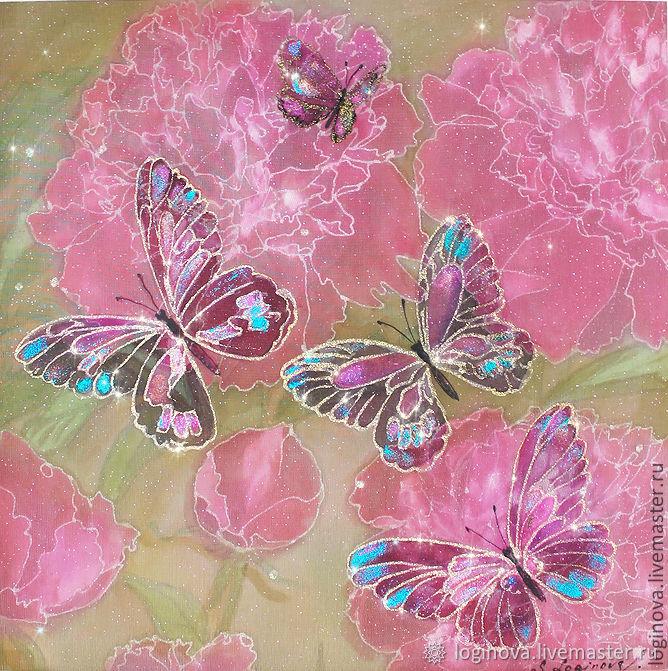 """Картина на шелке трехслойная """"Пионы с бабочками"""", Картины, Находка,  Фото №1"""
