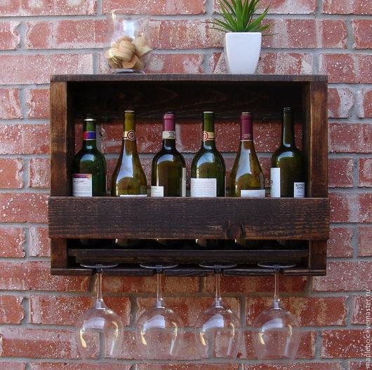 """Мебель ручной работы. Ярмарка Мастеров - ручная работа. Купить Полка для вина и бокалов """"Горт"""". Handmade. Коричневый, винная полка"""