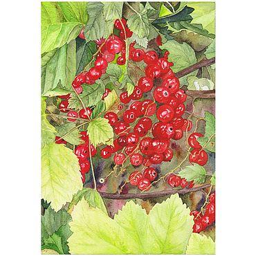 """Картины и панно ручной работы. Ярмарка Мастеров - ручная работа Картина: """"Красная смородина в саду"""", 18 на 26 см. Handmade."""