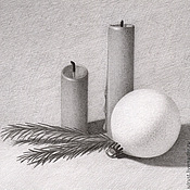 Подарки к праздникам ручной работы. Ярмарка Мастеров - ручная работа Картина Новогодний Натюрморт, рисунок карандашом серый белый графика. Handmade.
