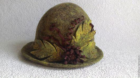 Шляпы ручной работы. Ярмарка Мастеров - ручная работа. Купить Шляпка Лесная фея. Handmade. Оливковый, шляпка женская