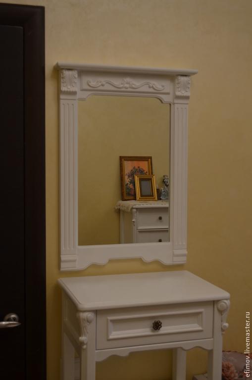 Зеркала ручной работы. Ярмарка Мастеров - ручная работа. Купить Белое зеркало. Handmade. Белый, резьба по дереву, липа