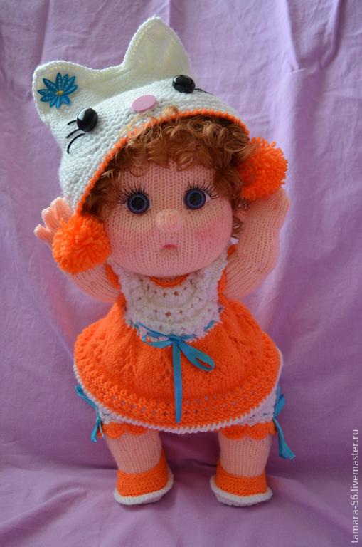 """Человечки ручной работы. Ярмарка Мастеров - ручная работа. Купить Кукла-пупс вязаная """"Китти в оранжевом"""". Handmade. Оранжевый"""