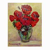 Картины и панно handmade. Livemaster - original item Oil painting Red poppies 39h28 cm, oil on canvas on hardboard, spatula. Handmade.