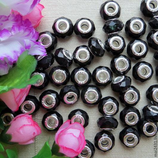 Бусины пластиковые граненые черные