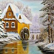 Картина маслом, зимний пейзаж, Зимовка в лесу 50 х 40