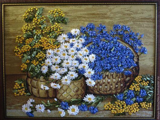 Картины цветов ручной работы. Ярмарка Мастеров - ручная работа. Купить Картина вышитая лентами Полевые цветы. Handmade. Подарок