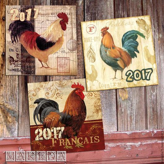 """Открытки к Новому году ручной работы. Ярмарка Мастеров - ручная работа. Купить Комплект открыток """"Петушок"""", винтаж. Handmade. Комбинированный"""
