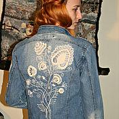 Одежда ручной работы. Ярмарка Мастеров - ручная работа Ирландское кружево-курточка джинсовая в стиле Бохо. Handmade.