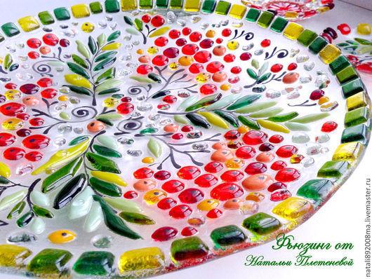 """Тарелки ручной работы. Ярмарка Мастеров - ручная работа. Купить Блюдо """"Рябинка"""" из стекла. Фьюзинг. Handmade. Стеклянная тарелка, Фьюзинг"""