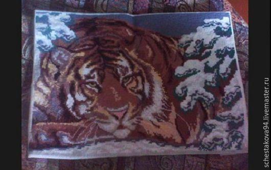 Животные ручной работы. Ярмарка Мастеров - ручная работа. Купить Тигр. Handmade. Комбинированный, серый цвет, нитки мулине