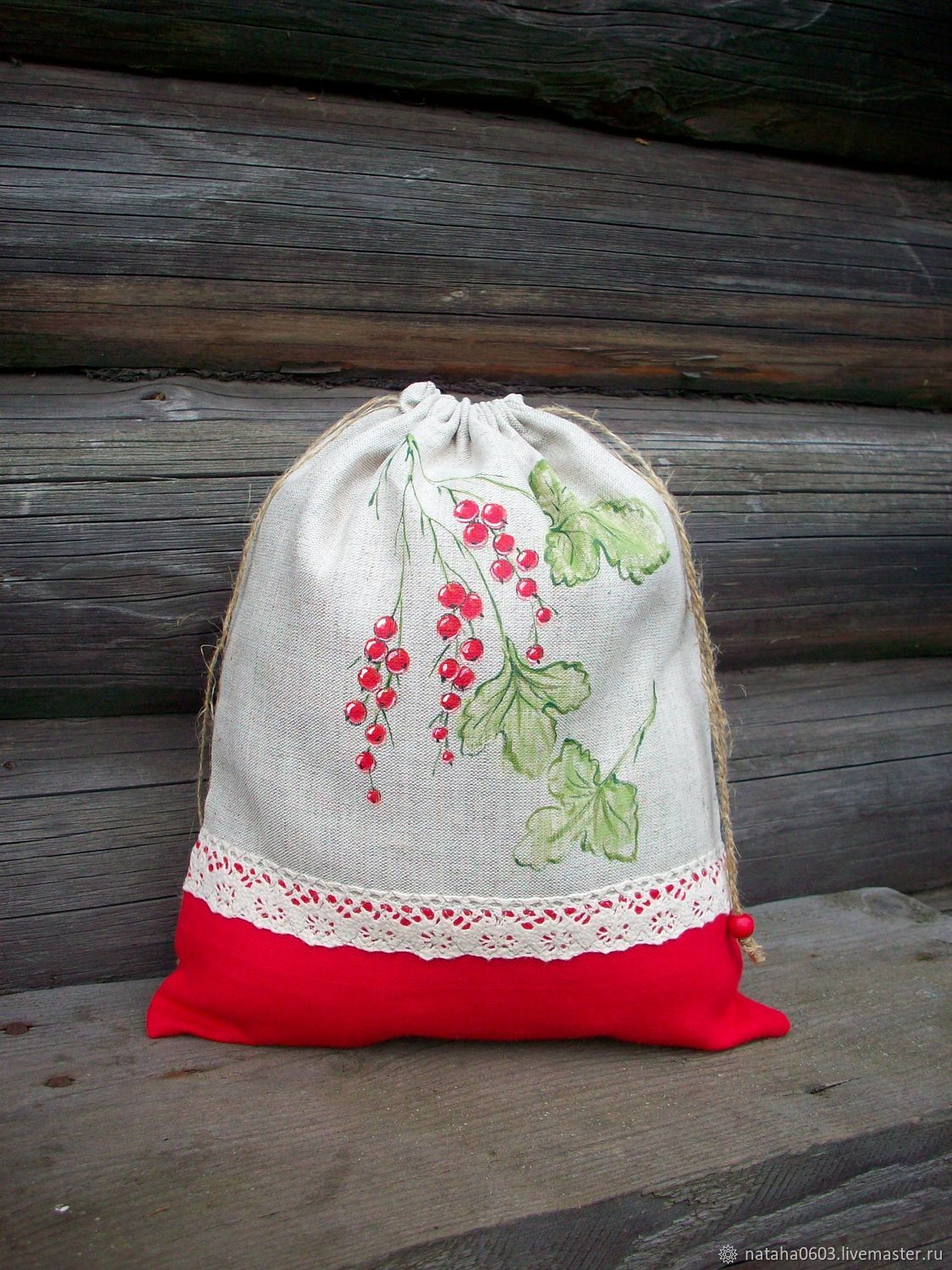 Linen bag for bread painted Red currants, Bags, Shuya, Фото №1