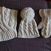 Аксессуары handmade. Livemaster - original item Knitted set of Finnish patterns, knitted hat, knitted scarf, mittens.. Handmade.