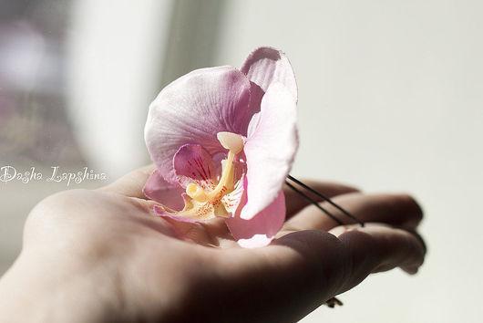 Заколки ручной работы. Ярмарка Мастеров - ручная работа. Купить Шпильки с орхидеями. Handmade. Шпильки, розовый, украшение с орхидеей