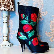 """Обувь ручной работы. Ярмарка Мастеров - ручная работа Полусапожки """"Маки"""". Handmade."""