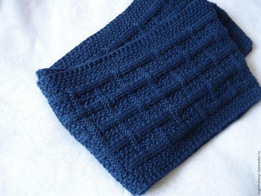 """Шарфы и шарфики ручной работы. Ярмарка Мастеров - ручная работа. Купить Шарф мужской """"Плетенка"""" синий. Handmade. Тёмно-синий"""