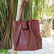 Сумки и аксессуары handmade. Livemaster - original item Shopper bag with pocket, genuine leather, genuine suede.. Handmade.