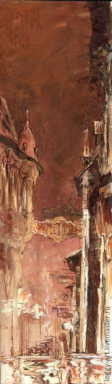 """Город ручной работы. Ярмарка Мастеров - ручная работа. Купить """"Ночь"""". Handmade. Коричневый, винтаж, картина для интерьера, картина на заказ"""