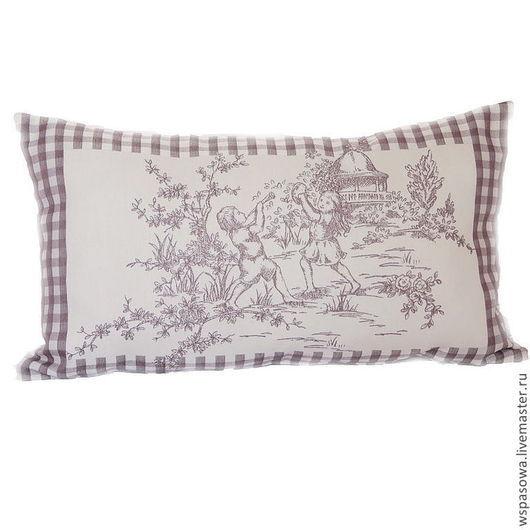 Текстиль, ковры ручной работы. Ярмарка Мастеров - ручная работа. Купить Подушка Пастух. Handmade. Бледно-сиреневый, клетка, ретро