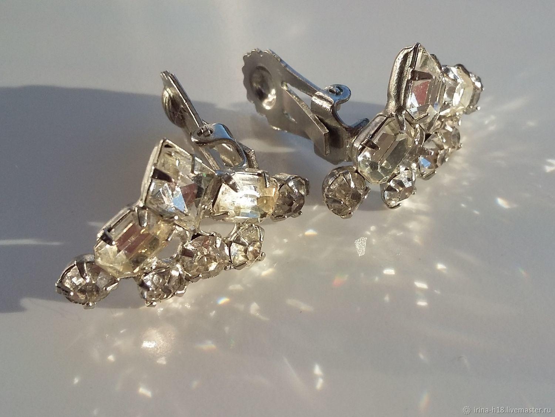 Clips elegantes con cristales transparentes, Art Deco, Vintage earrings, Blagoveshchensk,  Фото №1