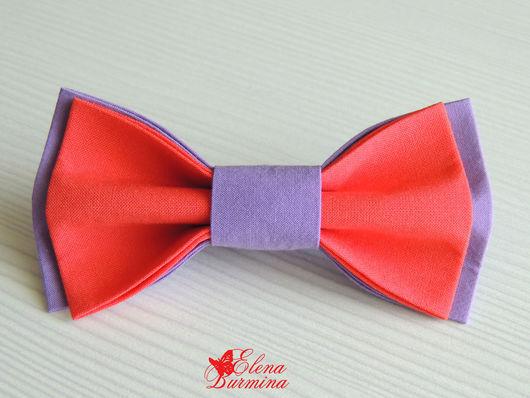 Галстуки, бабочки ручной работы. Ярмарка Мастеров - ручная работа. Купить Бабочка галстук сиренево-коралловая. Handmade. Сиреневый, коралловый