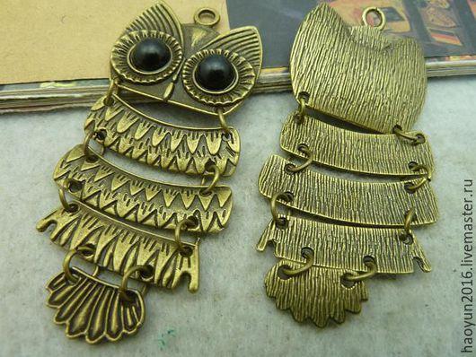 Для украшений ручной работы. Ярмарка Мастеров - ручная работа. Купить 2 шт металлические подвески бронзовую филин C3018. Handmade.