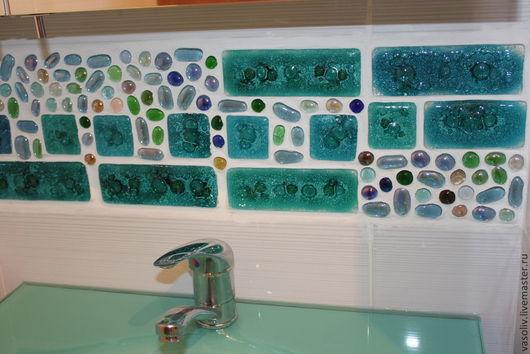 Декор поверхностей ручной работы. Ярмарка Мастеров - ручная работа. Купить Стеклянная плитка-декор для ванной и кухни в технике фьюзинг. Handmade.