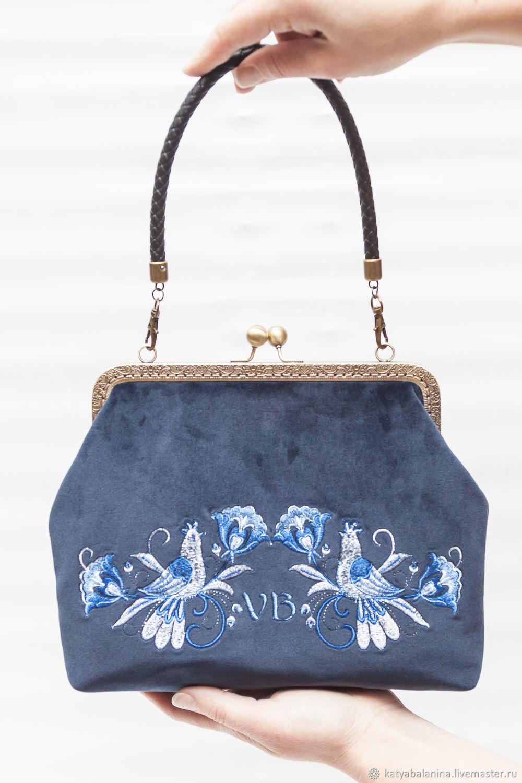 6fde8d41f59d Сумка клатч бархатная с фермуаром с вышивкой Гжель синяя сумку купить ...