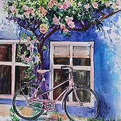Картины и панно handmade. Livemaster - original item Watercolor painting Under a rose Bush. Handmade.