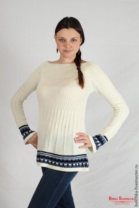 Кофты и свитера ручной работы. Ярмарка Мастеров - ручная работа. Купить Свитер (Туника) белый с орнаментом. Handmade. Белый