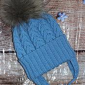 Аксессуары handmade. Livemaster - original item Knitted cap with a lapel and a fur pompom. Handmade.