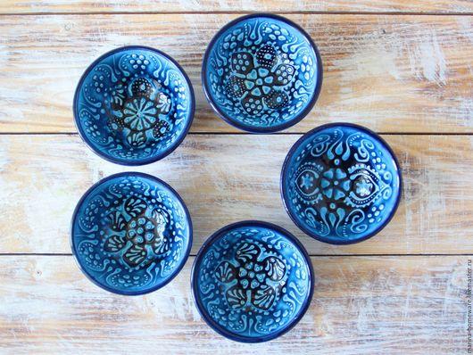 Пиалы ручной работы. Ярмарка Мастеров - ручная работа. Купить Набор керамических соусниц (5 шт) (бирюза). Handmade.