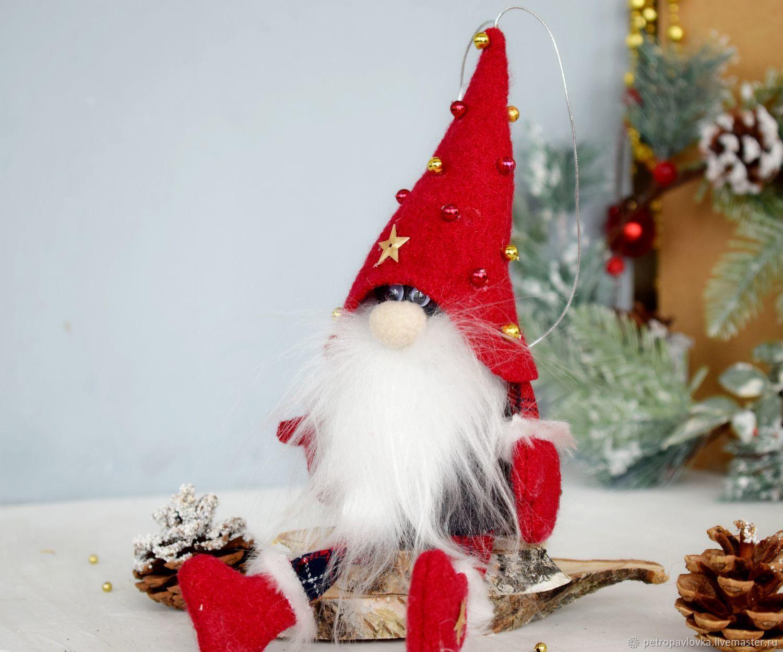 Новогодний гном с ножками, Народные сувениры, Черемшанка,  Фото №1