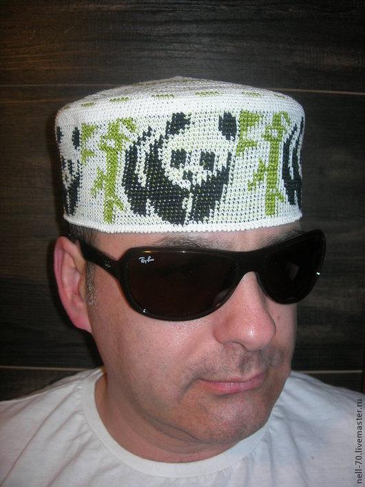 """Для мужчин, ручной работы. Ярмарка Мастеров - ручная работа. Купить Летняя шапка  """"Панда 1"""". Handmade. Разноцветный, на осень"""